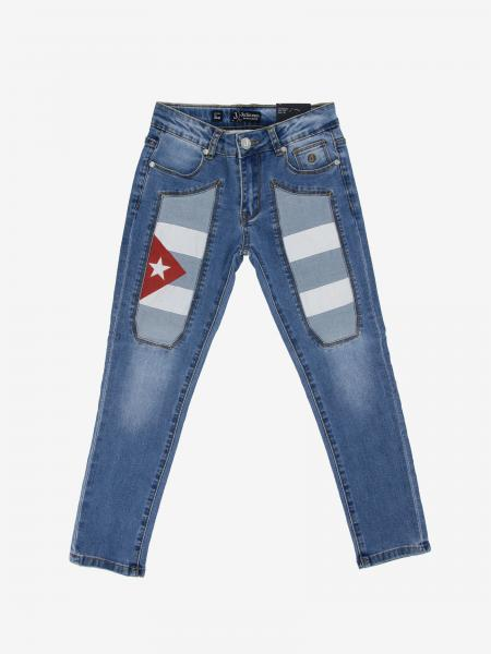 Jeans Jeckerson in denim con toppe con bandiera Cuba