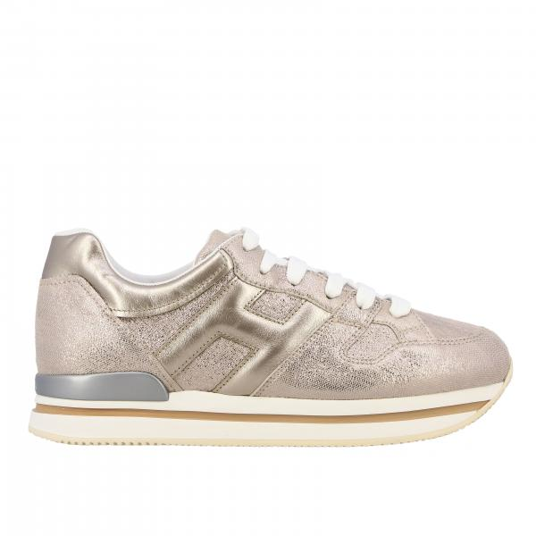 222 Hogan sneakers in laminated suede effect leather with big H