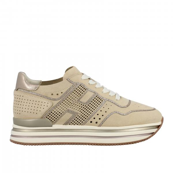 Hogan 483 midi platform sneakers in perforated suede with big H