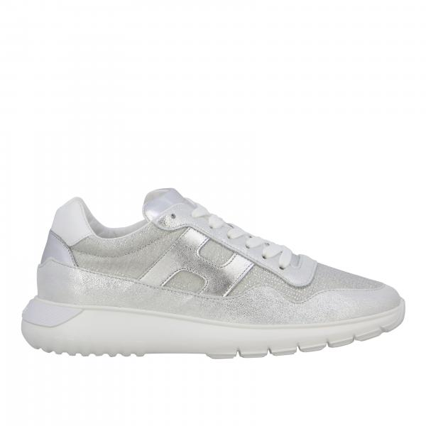 Hogan Interactive cube sneakers in laminated leather and lurex mesh