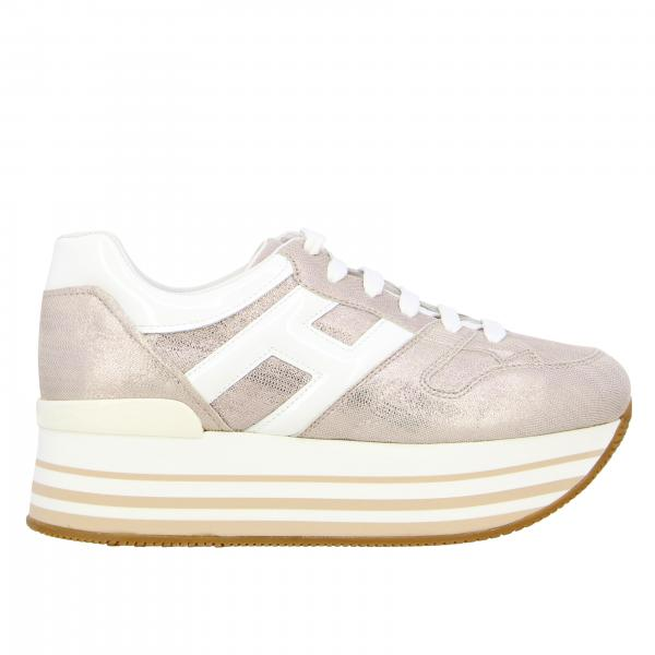 Hogan maxi platform 283 sneakers in laminated leather with big H
