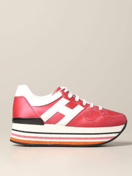 Hogan 283 platform sneakers in leather with big H in patent leather