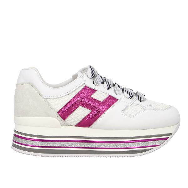 Hogan 516 Maxi platform sneakers in leather and mesh with big H laminate and glitter piping