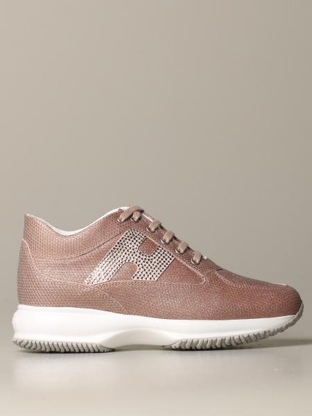 Interactive Hogan leather sneakers with lurex 3d print