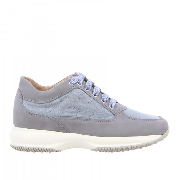 Interactive Hogan sneakers in suede and lurex mesh with rounded H