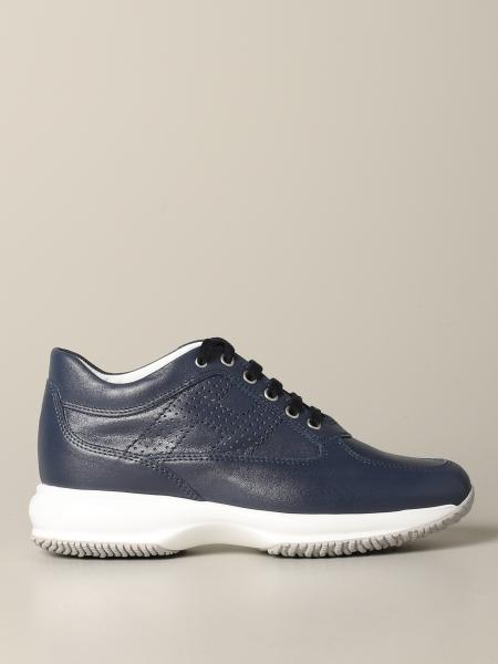Interactive Hogan leather sneakers with perforated H