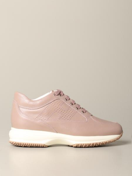 Interactive Hogan sneakers in pearl leather with perforated H