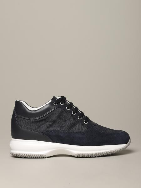 Interactive Hogan sneakers in suede and canvas with rounded H