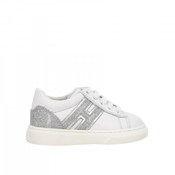 340 Hogan Baby sneakers in leather and glitter with big H