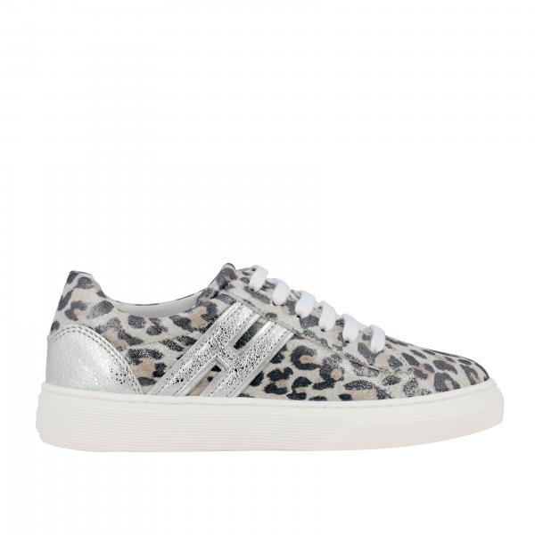 Hogan sneakers in leather with spotted print and laminated h