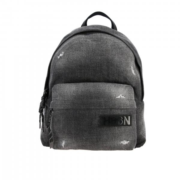 Hogan backpack in used denim with logo
