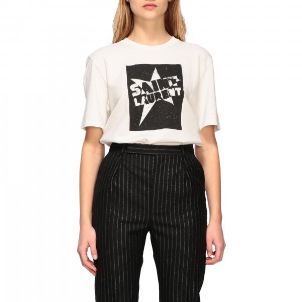 Crew neck Saint Laurent t-shirt with print