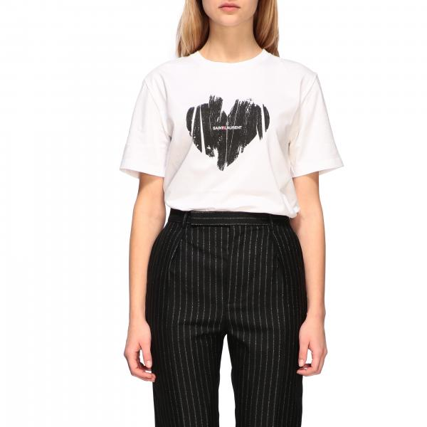 Crew neck Saint Laurent t-shirt with heart print
