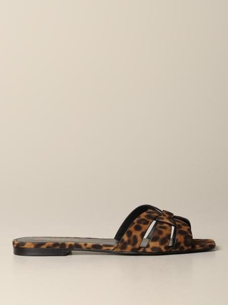 Tribute Saint Laurent flat sandal in animal print leather