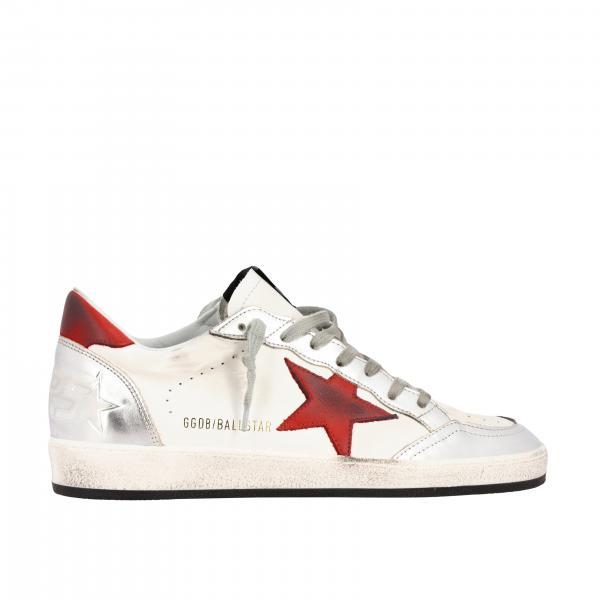 Golden Goose Ball Star Sneakers aus Leder mit farbigem Stern