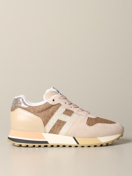 Hogan running sneakers in suede leather and canvas