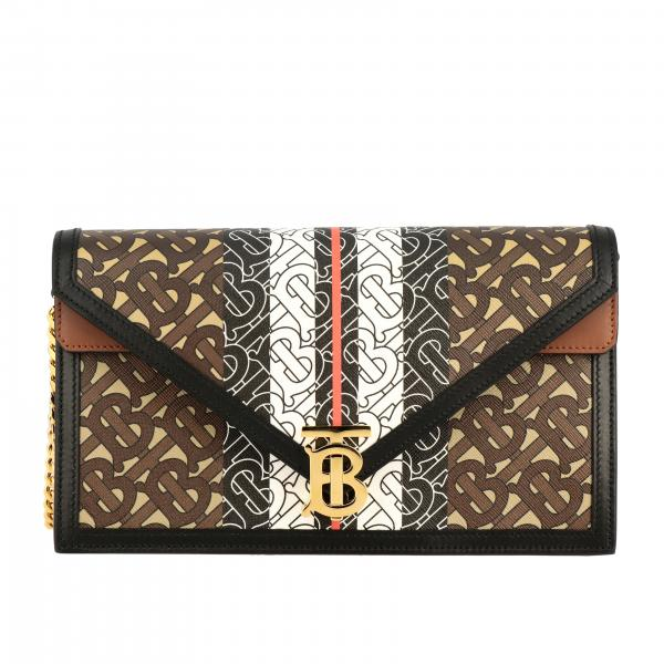 Burberry leather shoulder bag with all over TB print