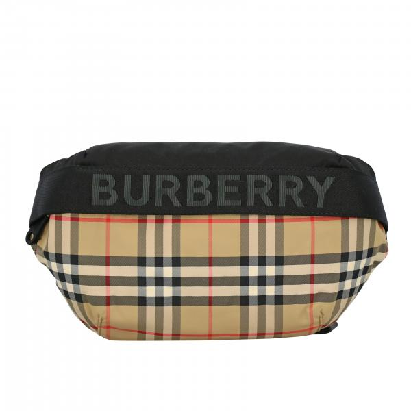Burberry belt bag in check canvas with logo