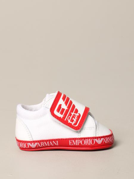 Emporio Armani leather sneakers with velcro and logo