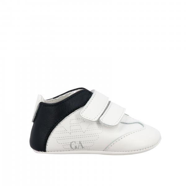 Emporio Armani leather sneakers with double strap buckles