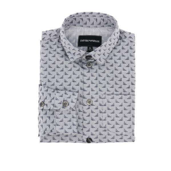 Emporio Armani shirt in cotton with all over eagle logo
