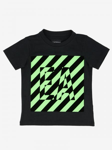 Emporio Armani t-shirt with striped flock logo print