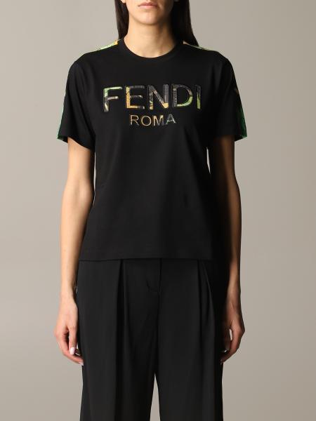 T-shirt Fendi con logo e bande floreali