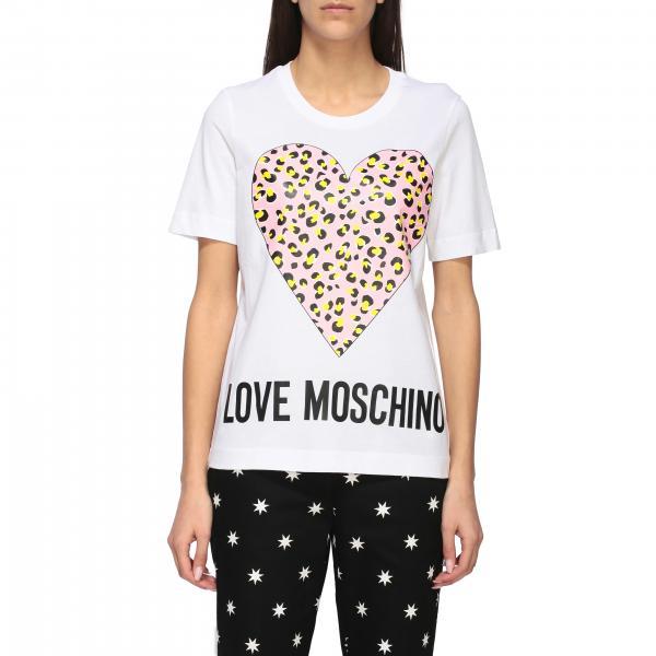 T-shirt Love Moschino a girocollo con stampa cuore animalier