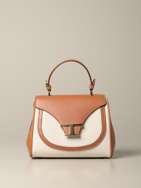 New T Tod's bag in leather and canvas