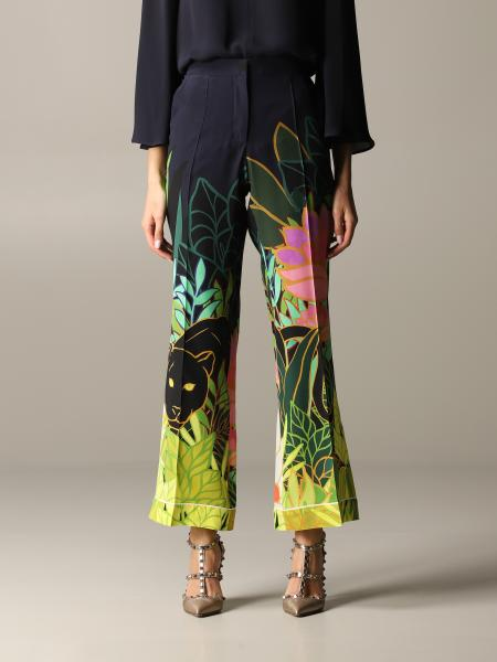 Pantalone Valentino in seta con stampa panther in the jungle