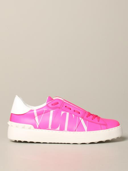 Valentino Garavani Open sneakers in fluo leather with VLTN logo
