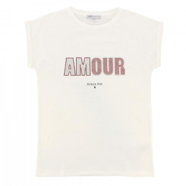 Patrizia Pepe short-sleeved T-shirt with rhinestone amour writing