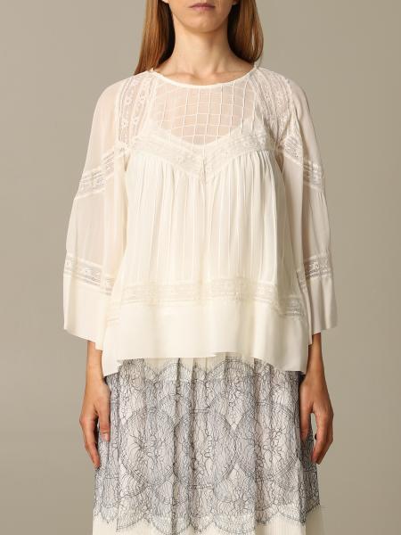 Блузка из хлопка с рукавом 3/4 Женское Twin Set