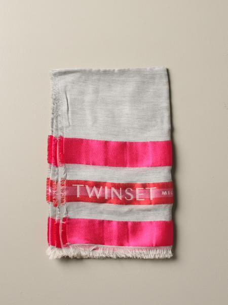 Twin-set bicolor scarf with logo