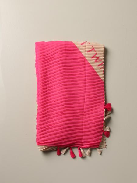 Twin-set bicolor and pleated scarf