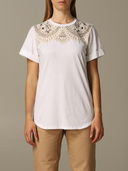 T-shirt Twin-set con ricami in pizzo