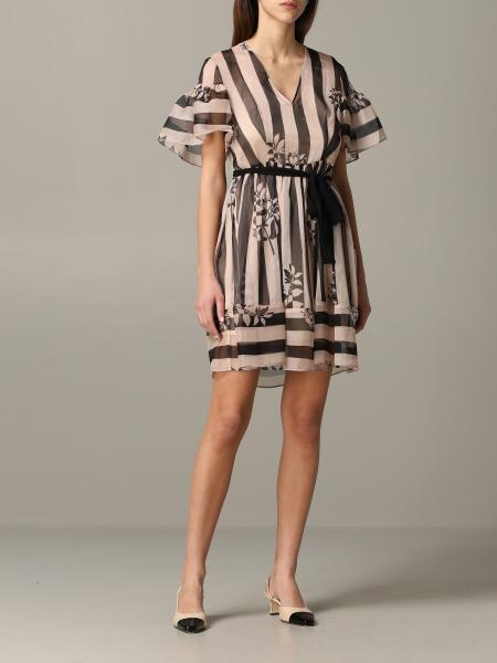 Twin-set striped dress with belt