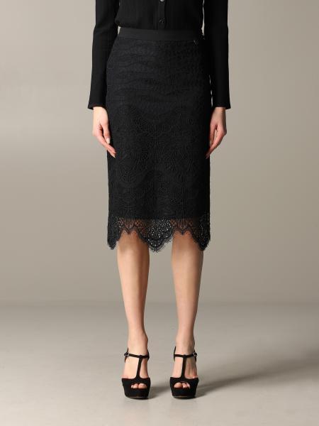 Twin Set 蕾丝装饰直筒半身裙