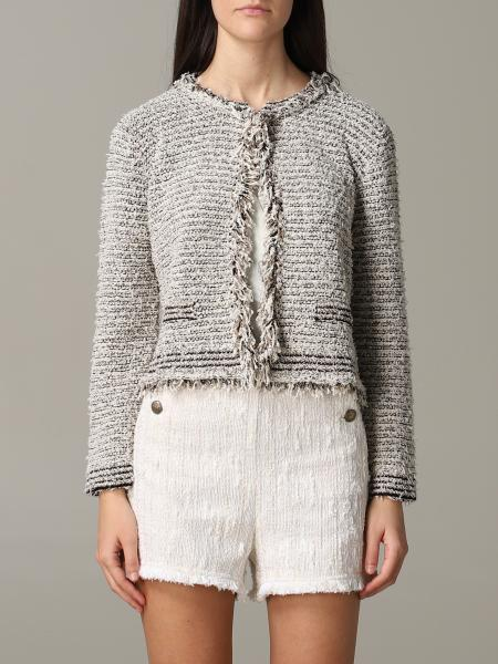 Twin-set bouclé jacket with frayed edges