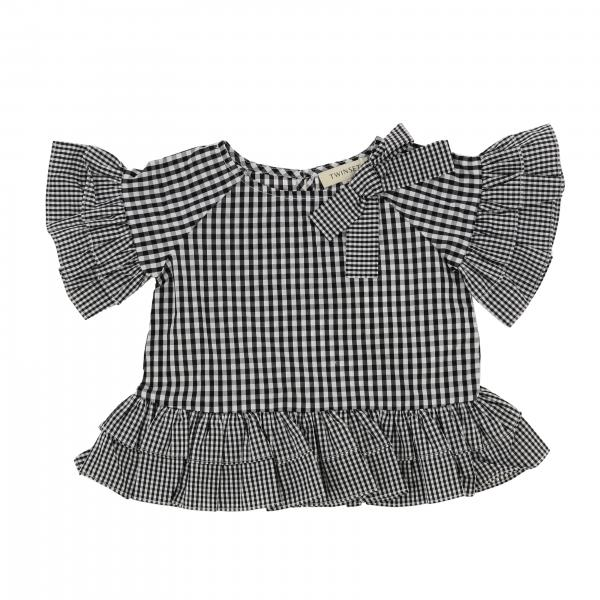 Twin-set sweater in vichy cotton