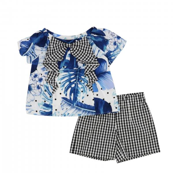 Twin-set top + shorts outfit with leaf print and vichy pattern