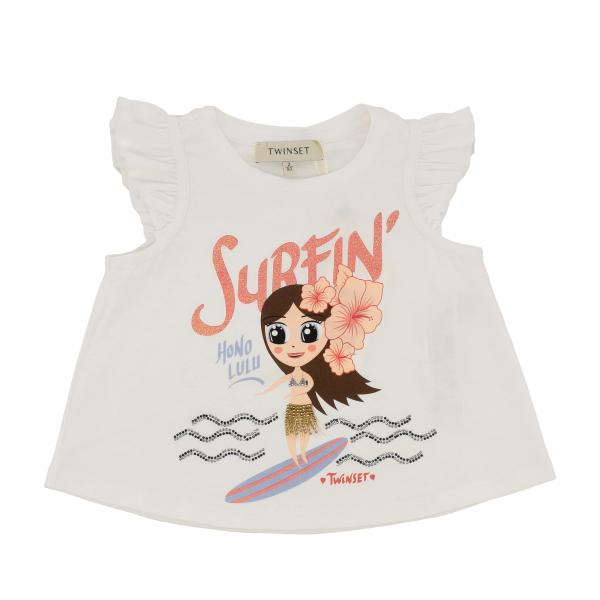 Twin-set short-sleeved T-shirt with surfin print