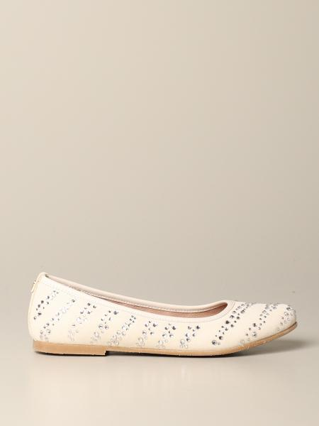 Twin-set suede ballet flat with rhinestones