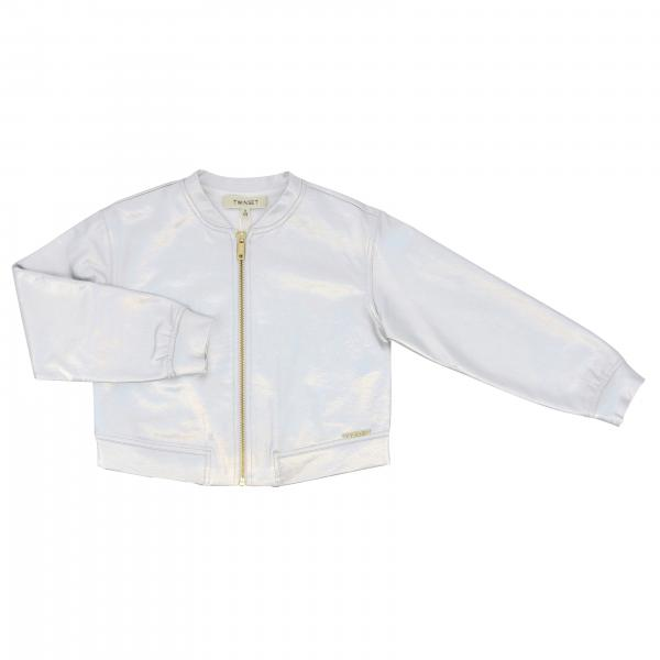 Twin-set bomber jacket in laminated fabric