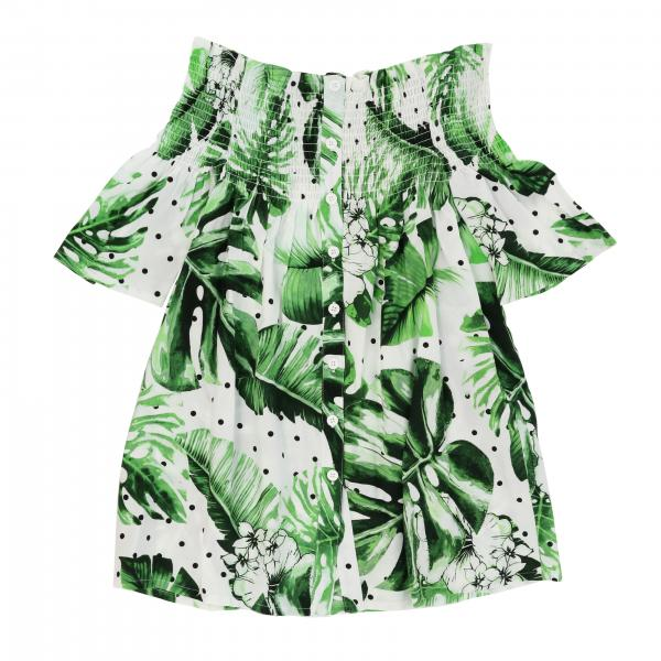 Twin-set dress with palm print