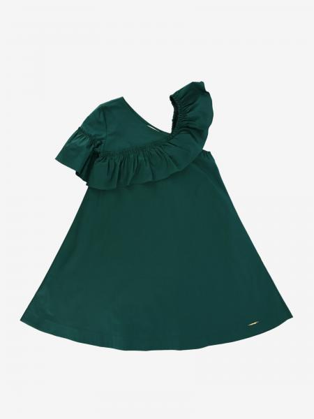 Twin-set dress in poplin with ruffles