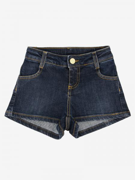 Twin-set denim shorts with logo