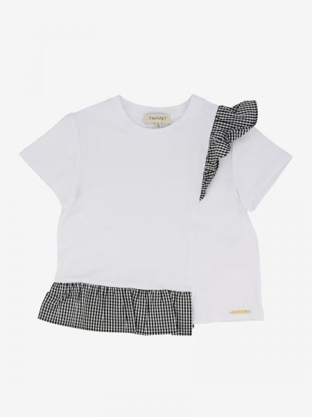 Twin-set T-shirt with vichy ruffles