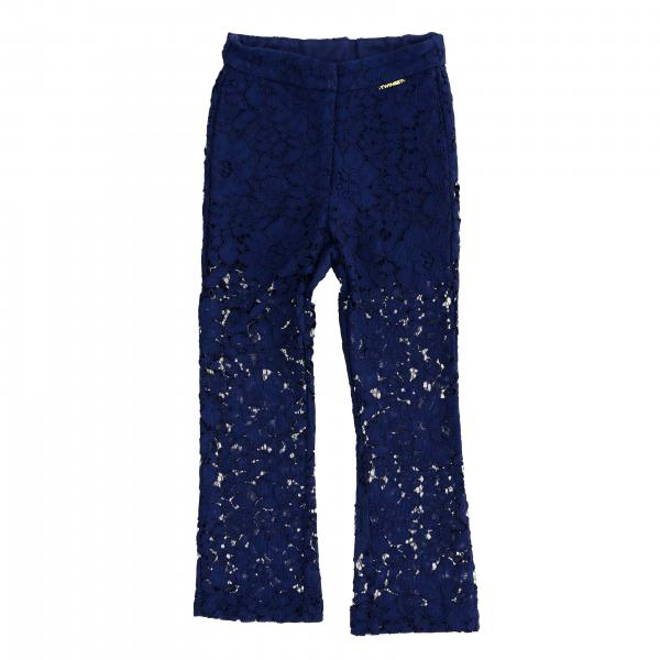 Twin-set lace trousers with mini logo