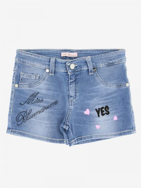 Miss Blumarine logo 牛仔短裤